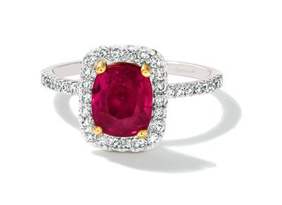 18K Two Tone Gold Passion Ruby™ 2  3/8 cts. Ring with Vanilla Diamonds® 1/2 cts. | FRBC 172