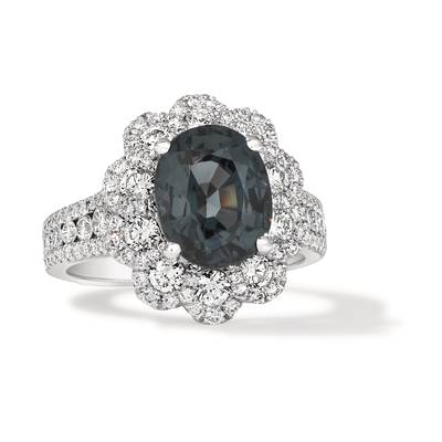 18K Vanilla Gold® Gray Spinel 4  1/3 cts. Ring with Vanilla Diamonds® 1  3/4 cts. | FRBJ 60