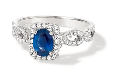 PLT Cornflower Ceylon Sapphire™ 7/8 cts. Ring with Vanilla Diamonds® 1/3 cts. | FRBK 208