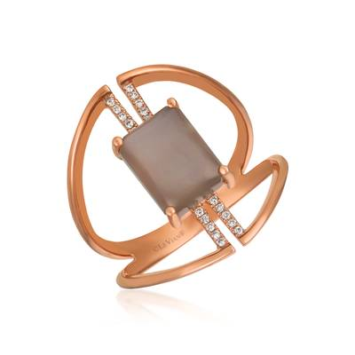 14K Strawberry Gold® Moonstone 1  5/8 cts. Ring with Vanilla Diamonds® 1/20 cts. | GECR 101