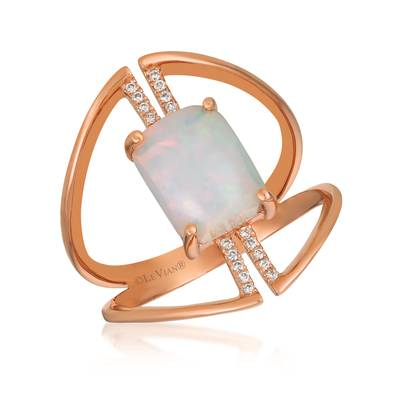14K Strawberry Gold® Neopolitan Opal™ 1 cts. Ring with Vanilla Diamonds® 1/20 cts. | GECR 102