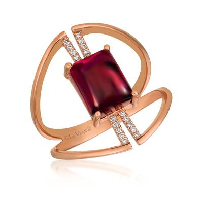 14K Strawberry Gold® Raspberry Rhodolite® 3  1/3 cts. Ring with Vanilla Diamonds® 1/20 cts. | GECR 103