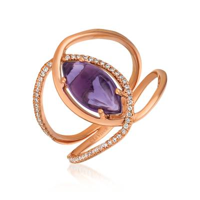 14K Strawberry Gold® Grape Amethyst™ 1  7/8 cts. Ring with Vanilla Diamonds® 1/6 cts. | GECR 43