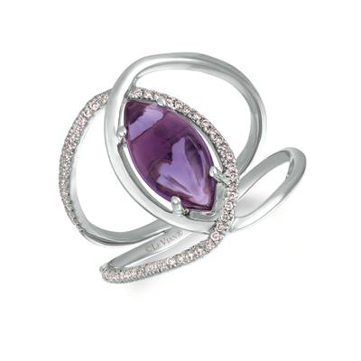 14K Vanilla Gold® Grape Amethyst™ 1  7/8 cts. Ring with Vanilla Diamonds® 1/6 cts. | GECR 43WG