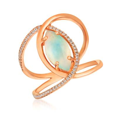 14K Strawberry Gold® Neopolitan Opal™ 1 cts. Ring with Vanilla Diamonds® 1/6 cts. | GECR 46