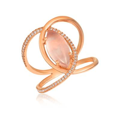 14K Strawberry Gold® Pink Orchid Quartz™ 1  1/2 cts. Ring with Vanilla Diamonds® 1/6 cts. | GECR 48