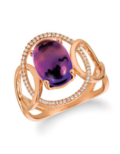 14K Strawberry Gold® Grape Amethyst™ 2  7/8 cts. Ring with Vanilla Diamonds® 1/6 cts. | GECR 64
