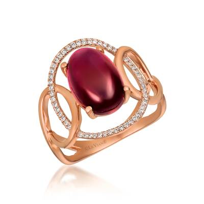 14K Strawberry Gold® Raspberry Rhodolite® 4  1/2 cts. Ring with Vanilla Diamonds® 1/6 cts. | GECR 68