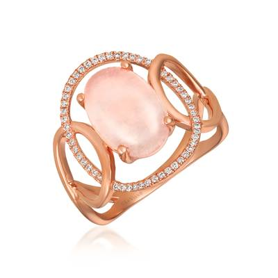 14K Strawberry Gold® Pink Orchid Quartz™ 2  3/4 cts. Ring with Vanilla Diamonds® 1/6 cts. | GECR 69