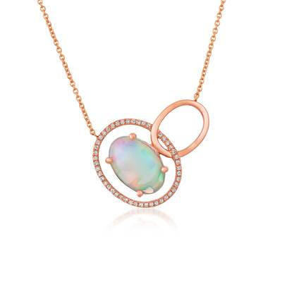 14K Strawberry Gold® Neopolitan Opal™ 1  7/8 cts. Necklace with Vanilla Diamonds® 1/8 cts. | GECY 7