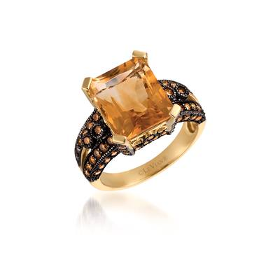 14K Honey Gold™ Cinnamon Citrine® 5  1/2 cts. Ring with Chocolate Diamonds® 1 cts. | JAEF 1
