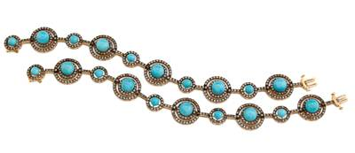 14K Honey Gold™ Robins Egg Blue Turquoise™ 23 1/8 cts. Bracelet with Chocolate Diamonds® 4  7/8 cts. | JAFO 3