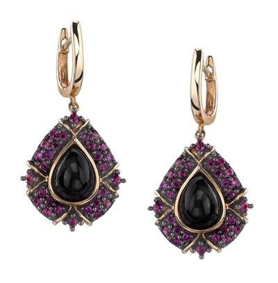 14K Honey Gold™ Onyx 2  3/4 cts., Passion Ruby™ 1  1/8 cts. Earrings | JAHC 50