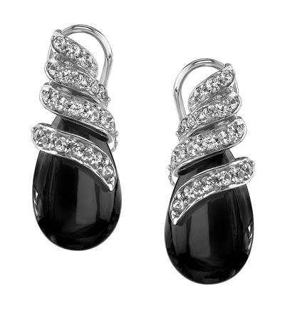 14K Vanilla Gold® Onyx 12 cts., White Sapphire 1/2 cts. Earrings | JAJJ 1