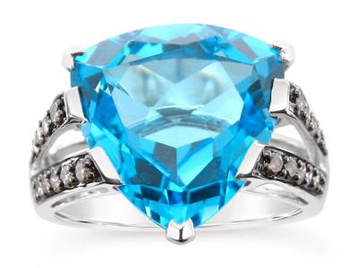 14K Vanilla Gold® Blue Topaz 9 cts. Ring with Chocolate Diamonds® 1/4 cts. | JAJL 7