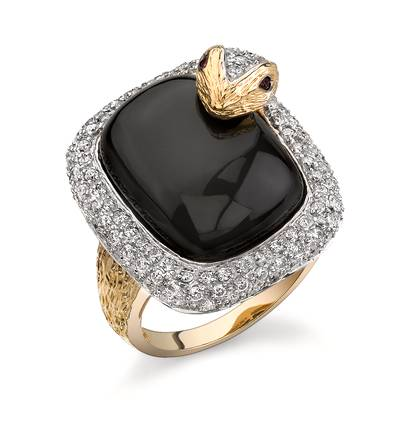 14K Honey Gold™ Onyx 13 1/6 cts., Passion Ruby™  cts. Ring with Vanilla Diamonds® 1 cts. | JALE 2