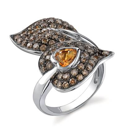 14K Vanilla Gold® Cinnamon Citrine® 3/4 cts. Ring with Chocolate Diamonds® 1  5/8 cts. | JALS 44