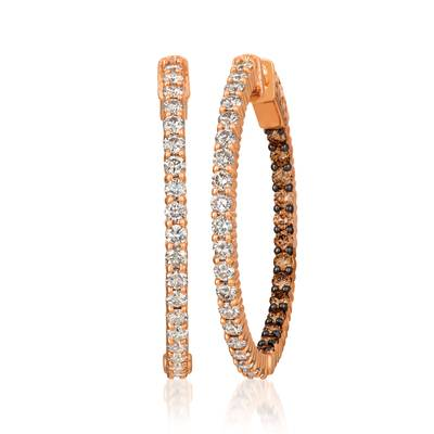 14K Strawberry Gold® Earrings with Chocolate Diamonds® 3/4 cts., Nude Diamonds 1  1/5 cts. | JECO 17
