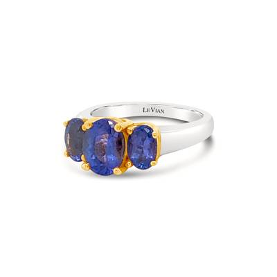 14K Two Tone Gold Blueberry Tanzanite® 1  3/4 cts.,  1  1/3 cts. Ring | LQL 119