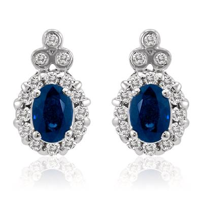 18K Vanilla Gold® Blueberry Sapphire™ 1 cts. Earrings with Vanilla Diamonds® 3/8 cts. | LQL 145
