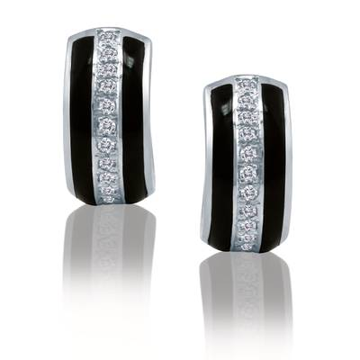 18K Vanilla Gold® Onyx  cts. Earrings with - Diamonds 1/5 cts. | LRC 74