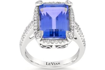 18K Vanilla Gold® Blueberry Tanzanite® 8 cts. Ring with Vanilla Diamonds® 1/3 cts. | LSTN 4466