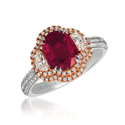 P18 Two Tone Gold Passion Ruby™ 2  5/8 cts. Ring with Vanilla Diamonds® 3/4 cts. | MEDU 107