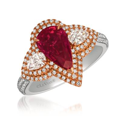 P18 Two Tone Gold Passion Ruby™ 2  5/8 cts. Ring with Vanilla Diamonds® 7/8 cts. | MEDU 117