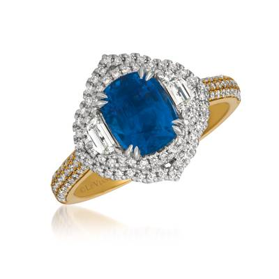 P18 Two Tone Gold Blueberry Sapphire™ 2  3/8 cts. Ring with Vanilla Diamonds® 3/4 cts. | MEDU 120