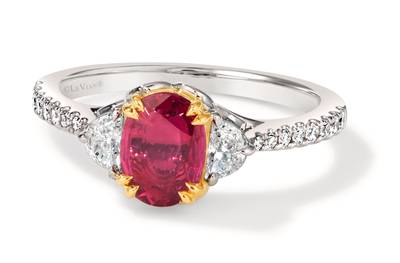 18K Two Tone Gold Passion Ruby™ 1  1/4 cts. Ring with Vanilla Diamonds® 3/8 cts. | MEDU 407