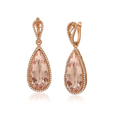 18K Strawberry Gold® Peach Morganite™ 29 cts. Earrings with Vanilla Diamonds® 7/8 cts. | MELI 1135