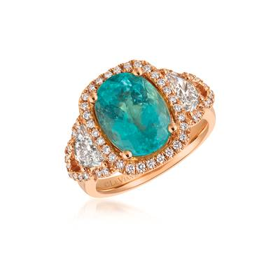 18K Strawberry Gold® Neon Blue Paraiba Tourmaline™ 4  5/8 cts. Ring with Vanilla Diamonds® 1  1/5 cts. | MELI 1259