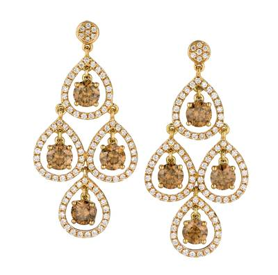 18K Honey Gold™ Earrings with Chocolate Diamonds® 2  5/8 cts., Vanilla Diamonds® 1 cts. | MELI 189YG