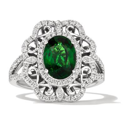 18K Vanilla Gold® Forest Green Tsavorite™ 2  3/8 cts. Ring with Vanilla Diamonds® 1/2 cts. | MELI 835
