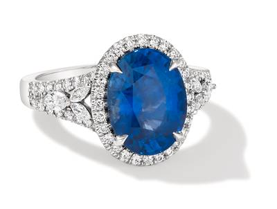 PLT Cornflower Ceylon Sapphire™ 5  1/3 cts. Ring with Vanilla Diamonds® 5/8 cts. | MLAA 115