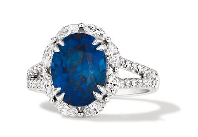 PLT Cornflower Ceylon Sapphire™ 5 cts. Ring with Vanilla Diamonds® 3/4 cts. | MLAA 117