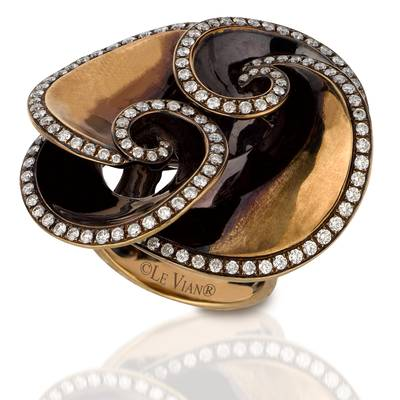 18K Chocolate Gold Ring with Vanilla Diamonds® 1  3/8 cts. | NOAA 4