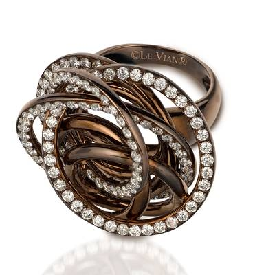 18K Chocolate Gold Ring with Vanilla Diamonds® 2  3/4 cts. | NOAA 5