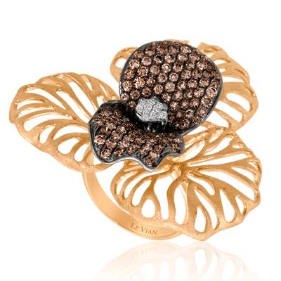 14K Strawberry Gold® Ring with Chocolate Diamonds® 2  1/8 cts., Vanilla Diamonds® 1/3 cts. | PEAA 13