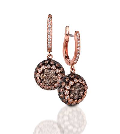 14K Strawberry Gold® Earrings with Chocolate Diamonds® 1  1/2 cts., Vanilla Diamonds® 3/8 cts. | PEAA 37