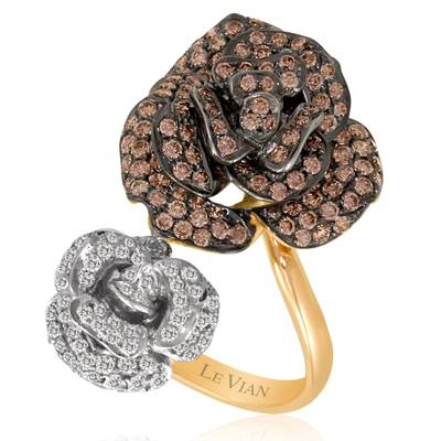 14K Strawberry Gold® Ring with Chocolate Diamonds® 1  1/3 cts., Vanilla Diamonds® 1/2 cts. | PEAA 44