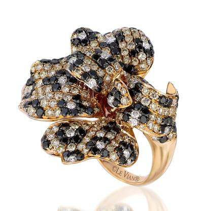 14K Strawberry Gold® Ring with Chocolate Diamonds® 5 cts., Vanilla Diamonds® 1/2 cts. | PEAH 22
