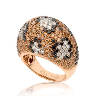 14K Strawberry Gold® Ring with Black Diamonds 1  1/2 cts., Chocolate Diamonds® 2  5/8 cts., Vanilla Diamonds® 1 cts. | PEAH 26