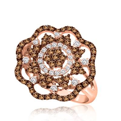 14K Strawberry Gold® Ring with Chocolate Diamonds® 1 cts., Vanilla Diamonds® 1/3 cts. | PEAI 26