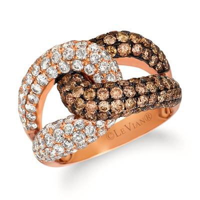 14K Strawberry Gold® Ring with Chocolate Diamonds® 1  7/8 cts., Vanilla Diamonds® 1  3/4 cts. | PEAO 1