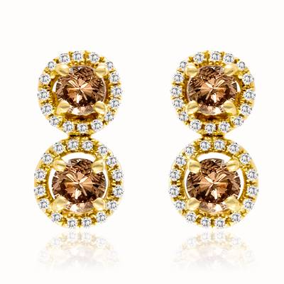 14K Honey Gold™ Earrings with Chocolate Diamonds® 5/8 cts., Vanilla Diamonds® 1/6 cts. | PEAR 13