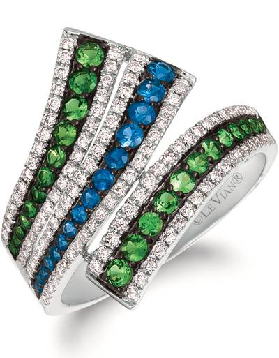 14K Vanilla Gold® Blueberry Sapphire™ 1/3 cts., Green Garnet 1/2 cts. Ring with Vanilla Diamonds® 3/8 cts. | PHAK 4