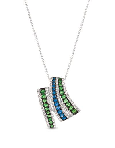 14K Vanilla Gold® Green Garnet 1/3 cts., Blueberry Sapphire™ 1/4 cts. Pendant with Vanilla Diamonds® 1/3 cts. | PHAK 5