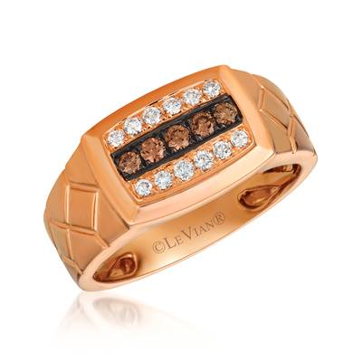 14K Strawberry Gold® Ring with Chocolate Diamonds® 1/5 cts., Vanilla Diamonds® 1/5 cts. | PHAL 1