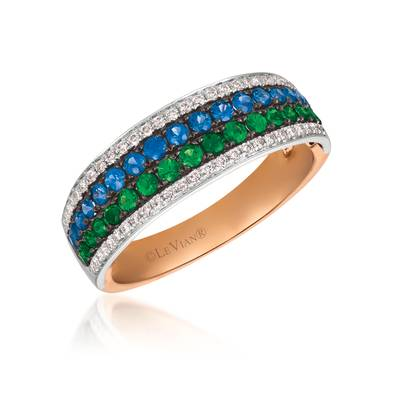 18K Two Tone Gold Blueberry Sapphire™ 3/8 cts., Green Garnet 1/3 cts. Ring with Vanilla Diamonds® 1/5 cts. | PHAM 31